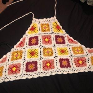 Crochet tie up crop top
